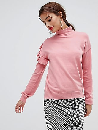 NA-KD Turtleneck Frill Sweater - Pink