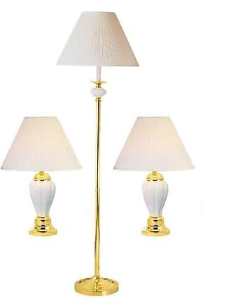 ORE Burgundy Ceramic Table and Floor Lamp, Set of 3
