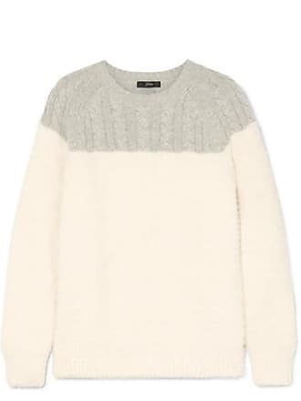 J.crew Allen Two-tone Cable-knit Wool-blend And Brushed Knitted Sweater - Cream
