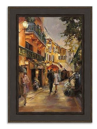 Tangletown Fine Art Evening in Paris Framed Art, Brown/Painting