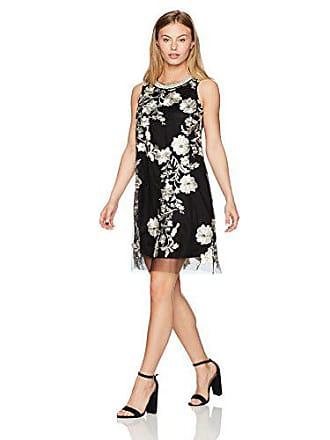 66956633b08 Sandra Darren Womens 1 Pc Petite Sleeveless Embroidered Mesh Trapeze Dress