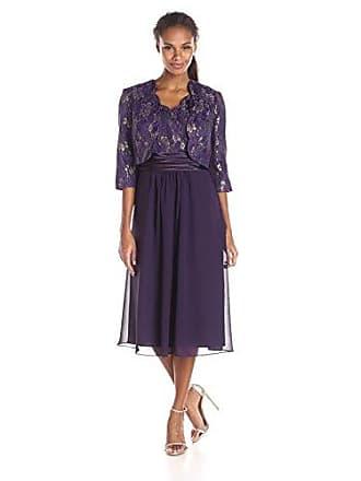 Le Bos Womens Scalloped Lace Jacket and Chiffon Dress Set, Eggplant, 8
