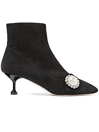 e69a8a952c15 Miu Miu Miu Miu Woman Faux Pearl-embellished Suede Ankle Boots Black Size 40