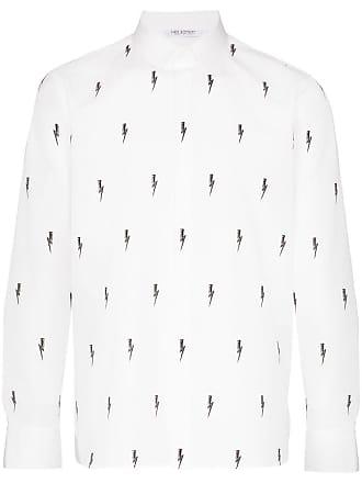 Neil Barrett Camisa mangas longas com estampa de relâmpagos - Branco