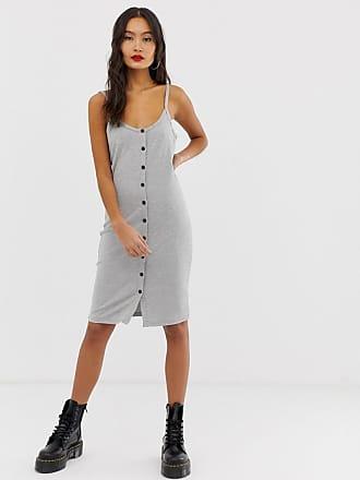Noisy May button through rib cami midi dress - Gray