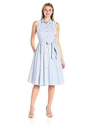 Ivanka Trump Womens Cotton Dress with Lace, Blue/White, 4