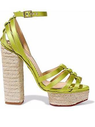 f257edb6715e Charlotte Olympia Charlotte Olympia Woman Eyelet-embellished Satin  Espadrille Platform Sandals Chartreuse Size 37
