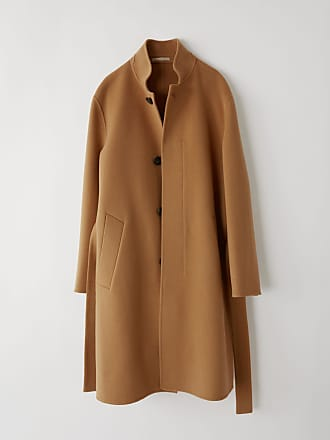 Acne Studios FN-MN-OUTW000013 Camel brown Funnel neck coat