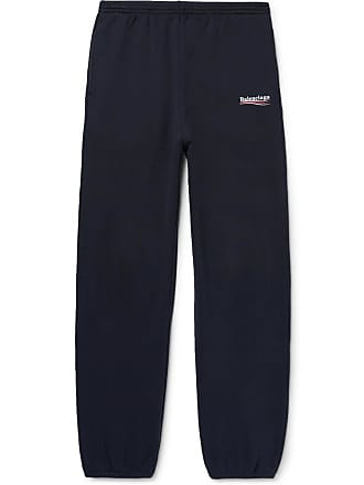5f8160b965212f Balenciaga Tapered Logo-print Fleece-back Cotton-blend Jersey Sweatpants -  Navy