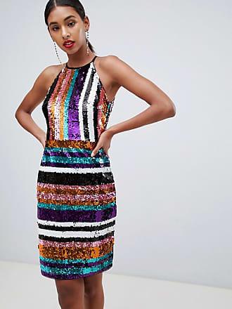 a1d5169971cb Tfnc Vestito a fascia accollato di paillettes a righe multi - Multicolore