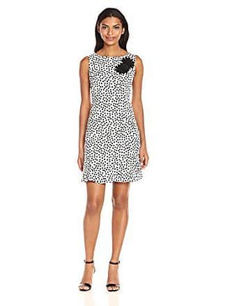 Taylor Dresses Womens Spring Dot Flounce Bottom Wheath Dress with Floral Applique at Shoulder, Ivory/Black 12