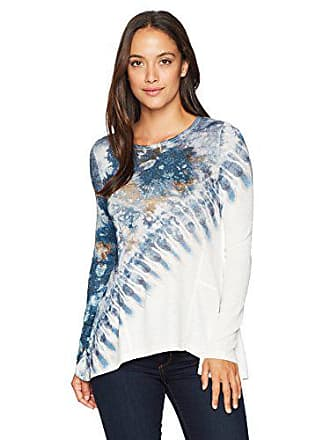 Oneworld Womens Long Sleeve Tie Dye Sweater Knit Top, Unique Quality- Ivory, L