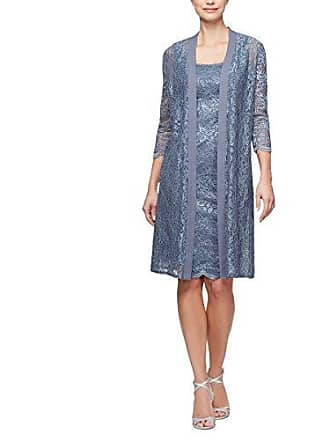 Alex Evenings Womens Long Jacket with Lace Dress (Petite and Regular Sizes), Slate, 6