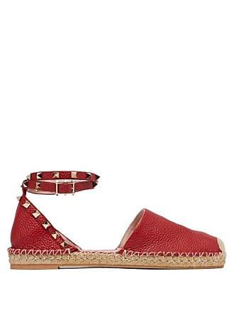 Valentino Rockstud Wraparound Strap Leather Espadrille Flats - Womens - Red