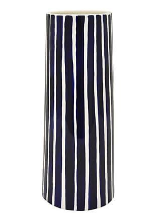 Three Hands Blue Stripes Cylindrical Porcelain Vase - 73665