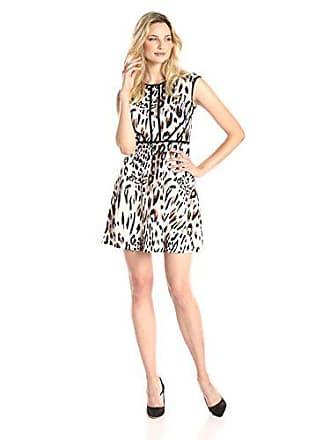 Sandra Darren Womens Sleeveless Animal Print Fit and Flare Dress, Neutral/Black, 16