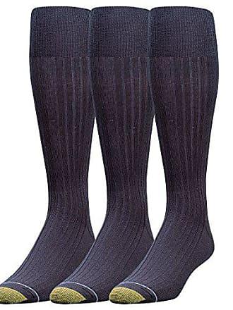 Gold Toe Mens Canterbury Over-the-Calf Dress Socks (Three-Pack),Navy,10-13 (Shoe Size 6-12.5)
