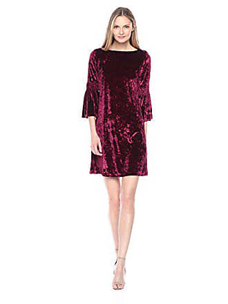 Julian Taylor Womens Long Rouched Sleeve Velvet Dress, Burgundy, 16