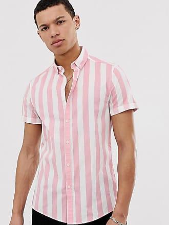 Asos Tall slim stripe shirt in pink - Pink