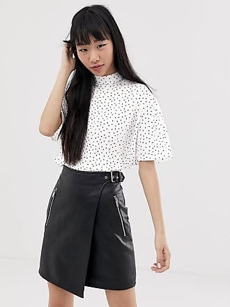 Jacqueline de Yong polka dot plisse high neck top - White
