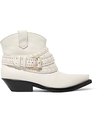 Zimmermann Studded Leather Ankle Boots - White
