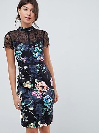 Little Mistress printed lace sleeve pencil dress - Multi