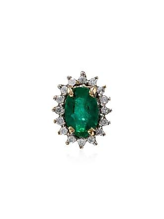 Yvonne Léon 18K yellow gold emerald diamond singular earring