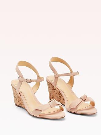 Alexandre Birman Noelle Wedge Sandal - 35.5 Light Sand Suede
