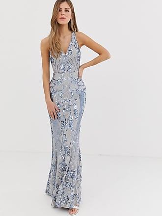 Bariano embellished patterned sequin strappy back maxi dress in silver - Silver