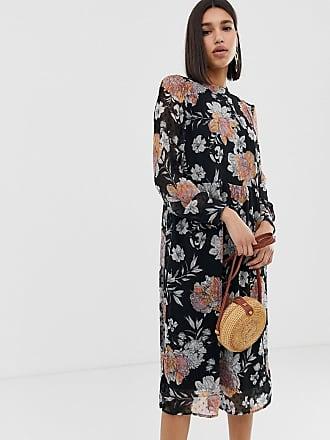 Vero Moda Vestito grembiule midi trasparente a fiori - Nero 70d0bbb9eb6