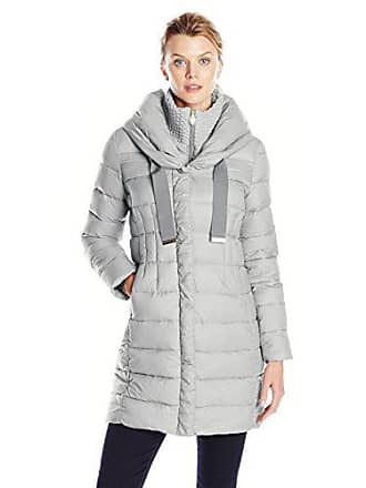 23deff4ee278 T Tahari Womens Olivia Down Coat with Ruching, Graphite, Large. USD $136.73