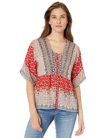 Johnny Was Womens Printed Flowy Button Down Blouse, Multi, XS