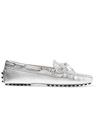 874fa99aec0 Tod s Gommino Embellished Metallic Textured-leather Loafers - Silver
