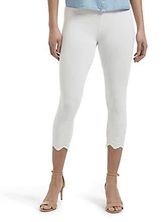 Hue Womens Fashion Cotton Capri Leggings, Assorted, Eyelet Trim/White, S
