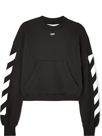 Off-white Cropped Printed Cotton-blend Jersey Sweatshirt - Black