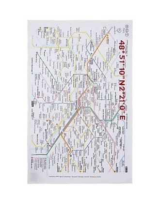 Kilometre Paris Paris Metro Map Cotton Tea Towel - White Multi