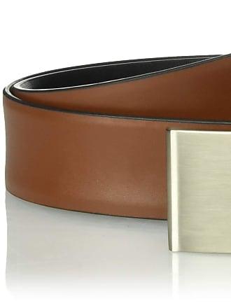 calvin klein 32mm plaque buckle leather dress belt