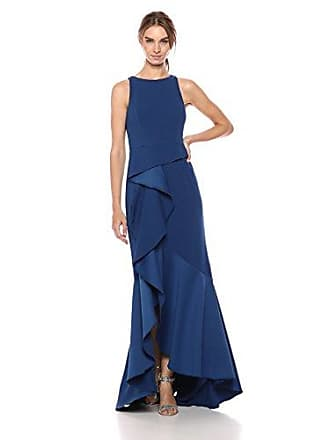 Adrianna Papell Womens Halter Knit Crepe Trumpet Gown, Night Flight, 8
