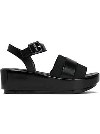 Robert Clergerie Robert Clergerie Woman Leather And Stretch-knit Wedge Sandals Black Size 39.5