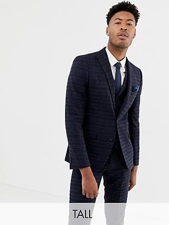 Harry Brown Tall - Marinblå och guldrutig kostymjacka med smal passform -  Blå 768ad1f10ca97