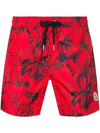 Moncler Scribble tropical print swim shorts - Red