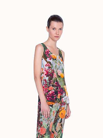 Akris Sleeveless Silk Cactus Blossom Print Tunic Blouse