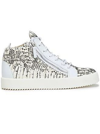 f39be041a2cc9 Giuseppe Zanotti Giuseppe Zanotti Woman Snake-effect Leather High-top  Sneakers Ivory Size 37