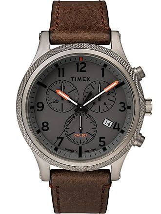 Timex Watch Mens Allied Lt Chronograph 42MM Leather Strap Gray/brown/gray Item Tw2T32800Vq