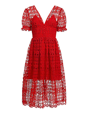 f6b214207aa Self Portrait V-neck Sheer Floral Lace Midi Dress Red
