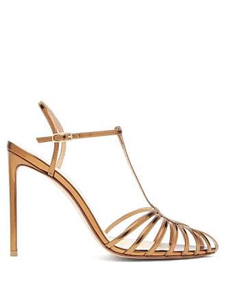 Francesco Russo Mirror Leather Slingback Heels - Womens - Bronze