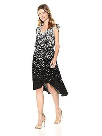 Adrianna Papell Womens Moody DOT HIGH Low Dress, Black/Ecru 4