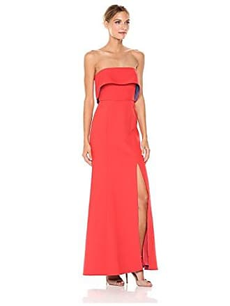 Bcbgmaxazria BCBGMax Azria Womens Penelopey Woven Strapless Dress with Slit, Bright Poppy Light Chambray, 10