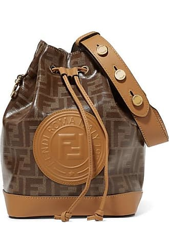 Fendi Mon Trésor Large Printed Coated-canvas And Leather Bucket Bag - Tan