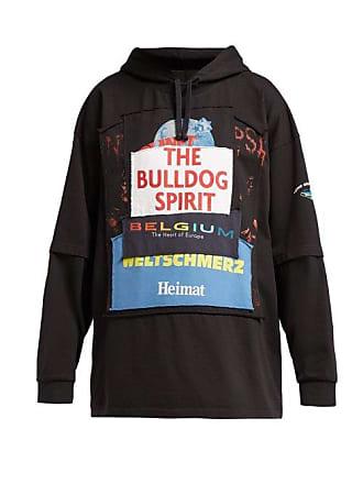 6e96658da556 VETEMENTS Bulldog Patchwork Cotton Hooded Sweatshirt - Womens - Black Multi